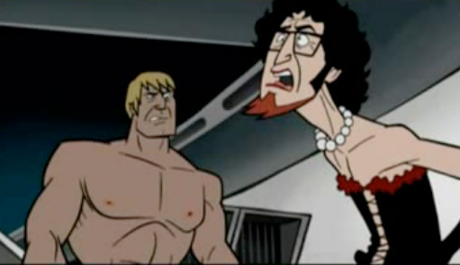 Brock as Rocky and Rusty as Dr. Frank-N-Furter