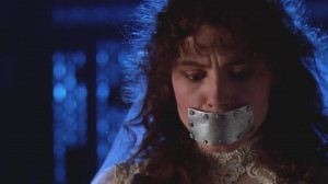 "Geena Davis with a metal plate on her mouth, from ""Beetlejuice"""